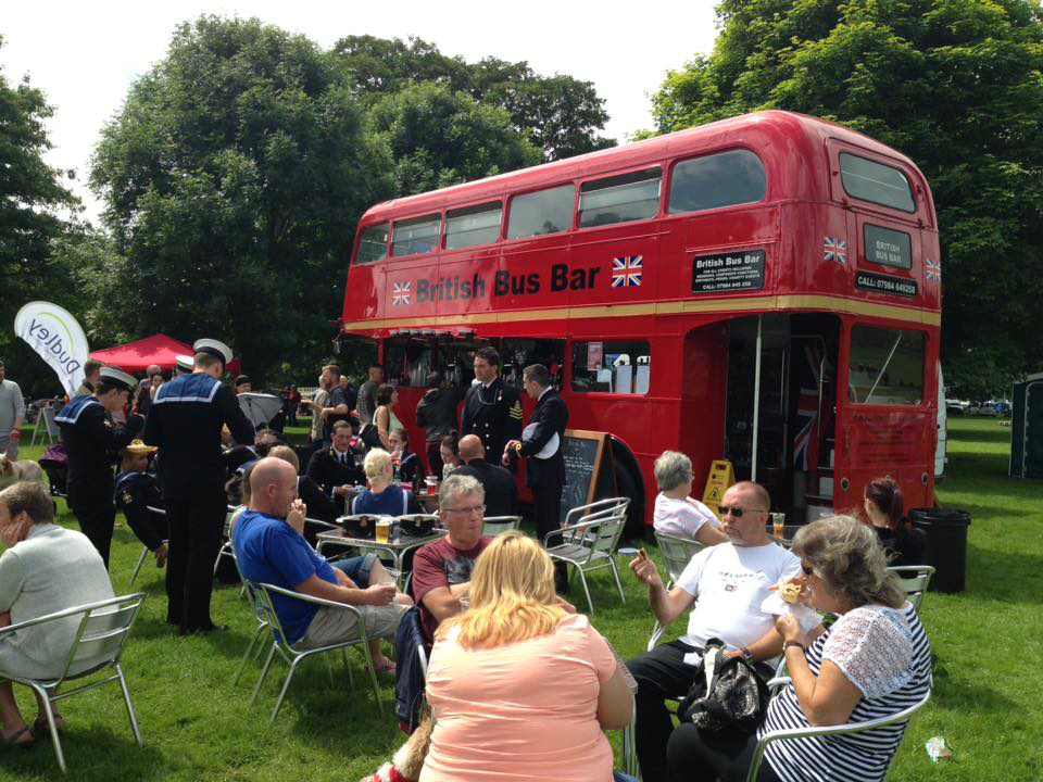 British bus bar party event