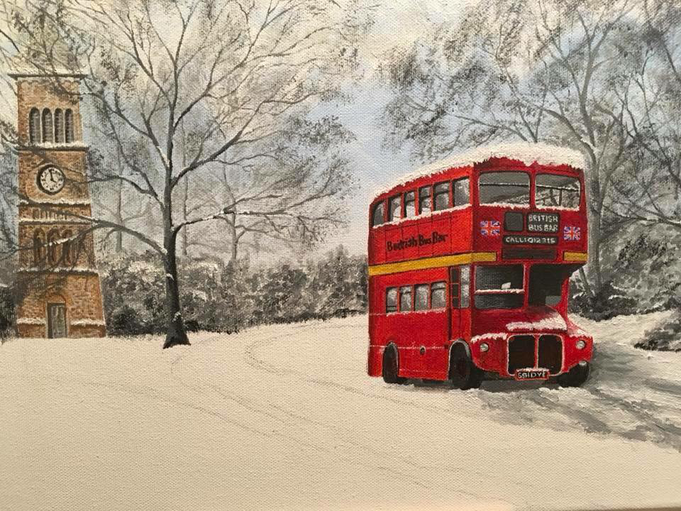 British bus bar charity Christmas card