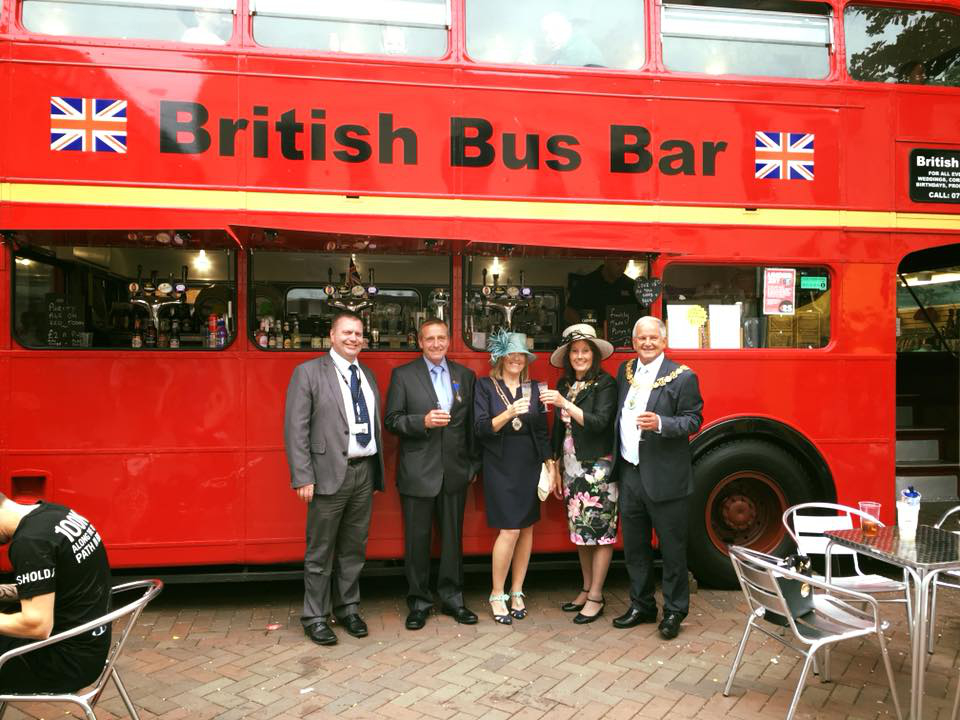 British bus bar corporate event