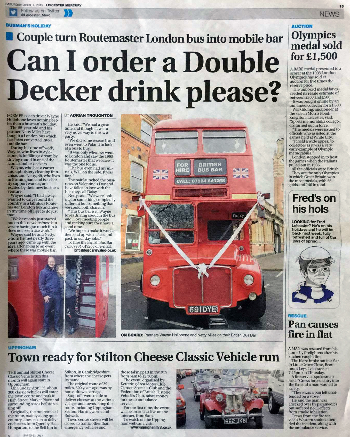 British bus bar newspaper article