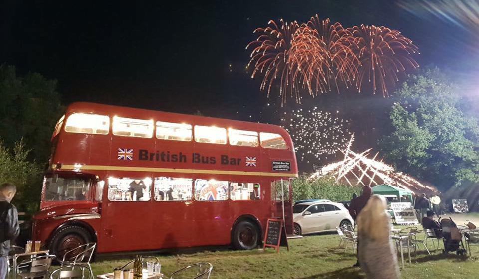 British bus bar firework display